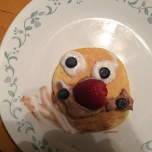 "Jess made me a happy face pancake. I will ""enjoy"" it #365"